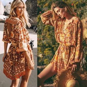 Spell designs amethyst keyhole smock dress S amber